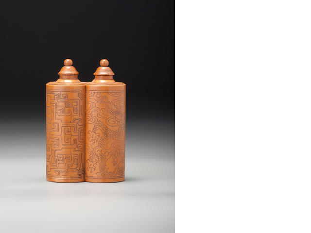 A bamboo veneer 'dragon' double snuff bottle Possibly Jiangxi province or palace workshops, Beijing, 1740–1820