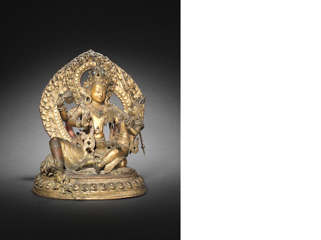 A large bronze Buddhist group 18th/19th century, probably Tibetan