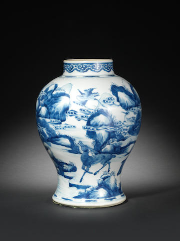 A blue and white baluster jar Kangxi