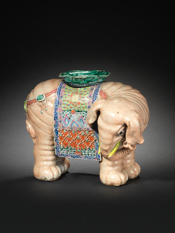 A large famille rose model of a standing elephant Early 19th century