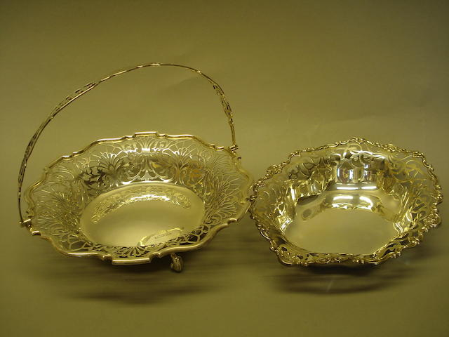 A pierced silver basket and an oval silver dish (2)