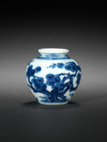 A small blue and white jar Yongzheng six-character mark and of the period