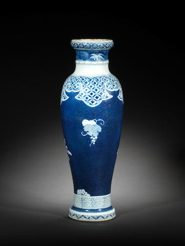 An unusual slender blue and white vase Kangxi