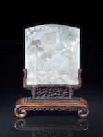 A fine and rare large white jade double-sided Imperially-inscribed screen Qianlong