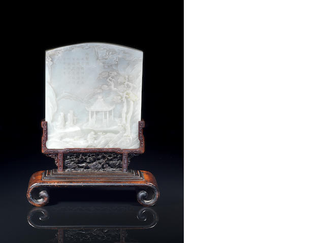 A fine and rare large white jade double-sided Imperially inscribed screen, wood stand Qianlong