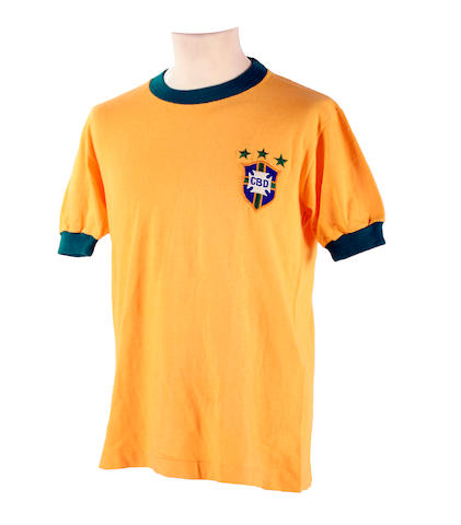 Pele's final international match worn shirt from 1971 (Brazil v Yugoslavia)