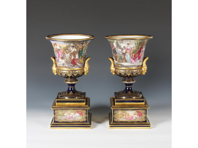 A pair of Vienna style campana vases Late 19th Century.