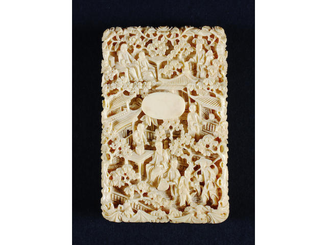 A Canton export carved ivory card case 19th Century.