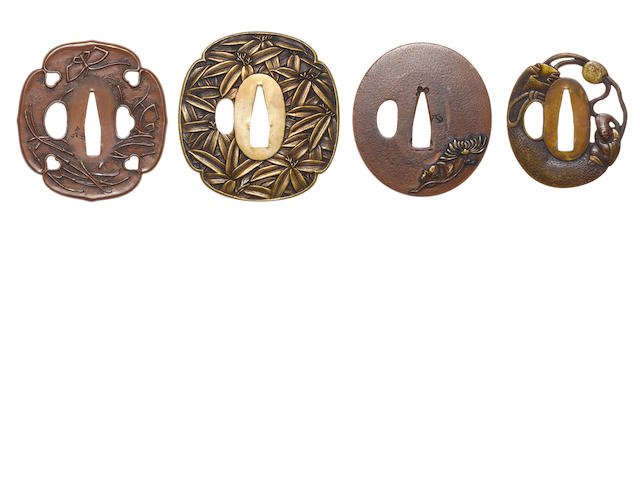 Four shinchu and copper tsuba 19th century