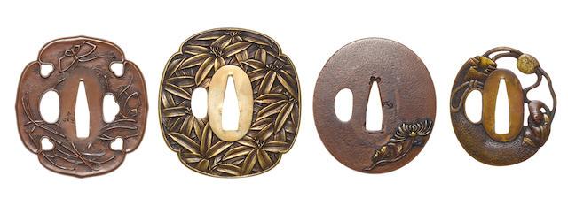 Four shinchu and copper tsuba 19th century