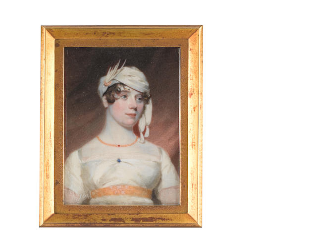 Andrew Robertson, MA (Scottish, 1772-1845) Lady Lacon, wearing white dress, gold waistband, blue pin at her corsage, gold necklace and white turban