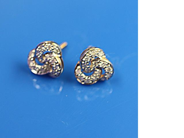 A pair of 9ct gold diamond earstuds
