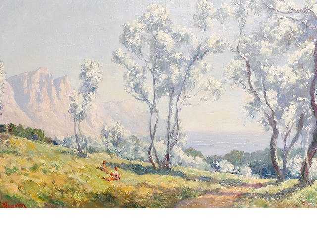 Edward Roworth (South African, 1880-1964) Silver trees with the Twelve Apostles in the distance