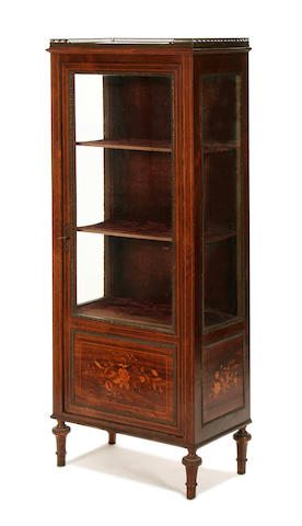 A French late 19th century rosewood and marquetry vitrine