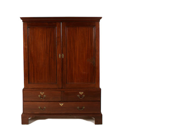 A late George II mahogany linen press