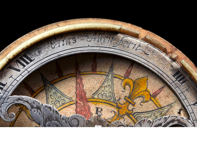 A rare Elias Allen ivory and silver pocket horizontal sundial, English,  circa 1630,