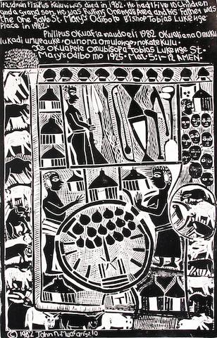 John Ndevasia Muafangejo (South African, 1943-1987) 'Herdman Pit Kaluviwas died in 1982' 57 x 38cm (22 7/16 x 14 15/16in)(B).