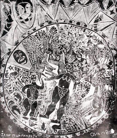 John Ndevasia Muafangejo (South African, 1943-1987) 'Ovambo' 63 x 52cm (24 13/16 x 20 1/2in)(B).