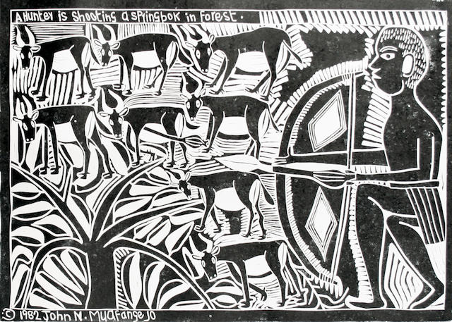 John Ndevasia Muafangejo (South African, 1943-1987) A hunter shooting a springbok in a forest 38 x 57cm (14 15/16 x 22 7/16in)(B).