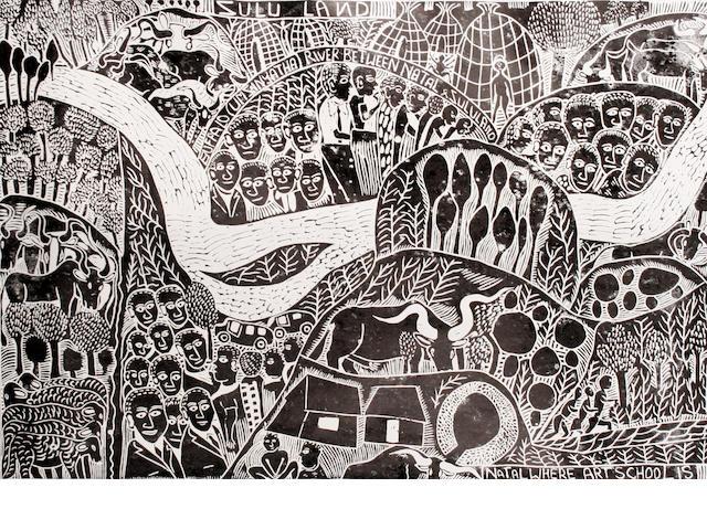 John Ndevasia Muafangejo (South African, 1943-1987) Zululand
