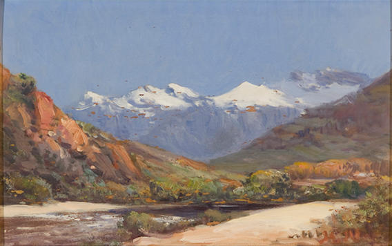Pieter Hugo Naudé (South African, 1869-1941) Paarl valley with snow-capped mountains