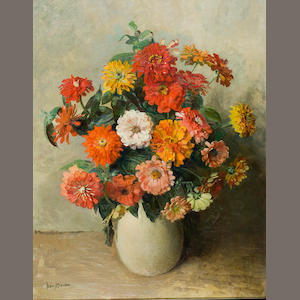 Frans David Oerder (Dutch, 1867-1944) A vase of zinnias