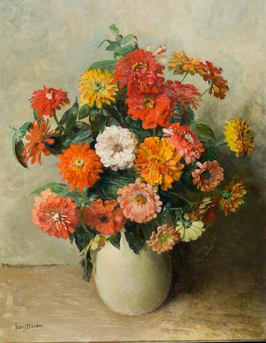 Frans David Oerder (Dutch, 1867-1944) A vase of zinnias