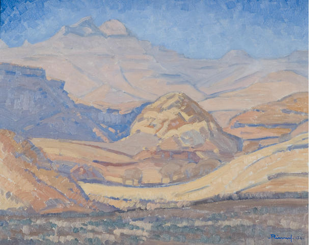 Jacob Hendrik Pierneef (South African, 1886-1957) 'On the road between Clarens and Golden Gate, OVS'