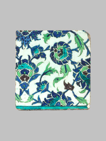 A Damascus underglaze painted pottery Tile Syria, 16th Century