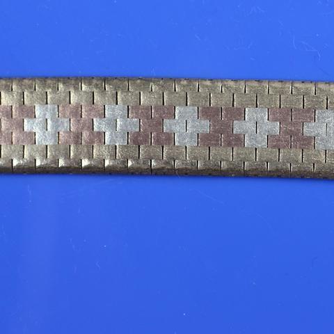 A three colour 9ct gold brick-link bracelet