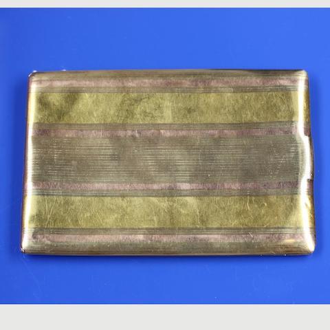 A two colour precious metal cigarette case