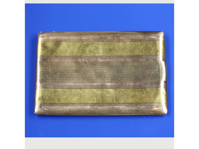 A two colour precious metal cigarette case