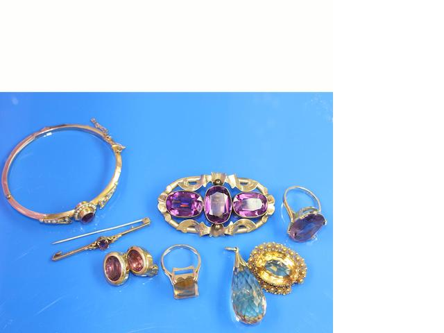 A collection of citrine and amethyst set jewellery