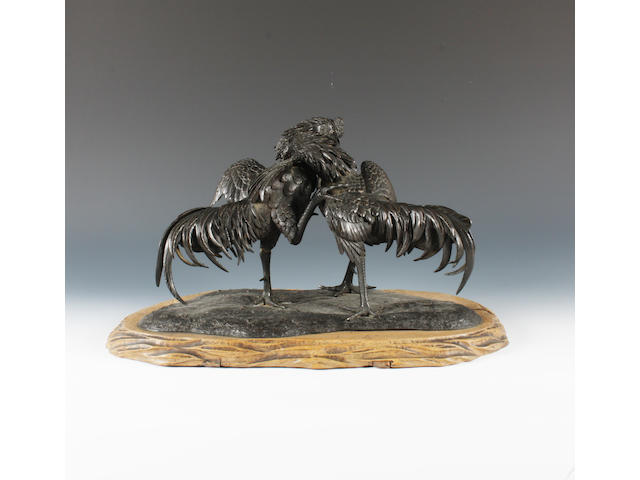 A Japanese bronze cockfighting group Meiji period.
