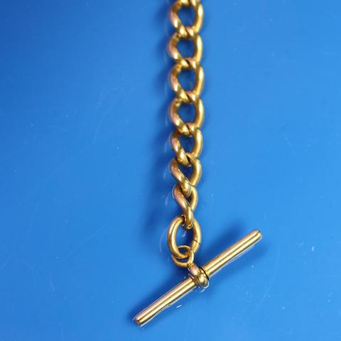 An 18ct gold curb-link part Albert chain