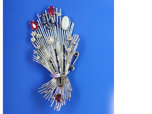 A gem set brooch