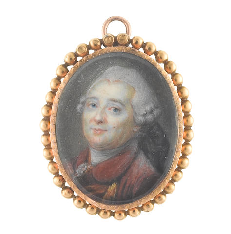 French School, circa 1780 Louis XVI (1754–1793), King of France and of Navarre (1774-1791), King of the French (1791-1792), wearing red coat with gold lace, gold waistcoat, white cravat and stock, his powdered wig worn en queue and tied with a black ribbon bow
