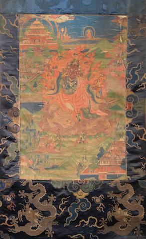 A Tibetan thangka depicting Vajrapani 18th century