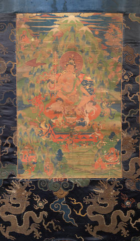 A Sino-Tibetan thangka depicting Padmasanbhava  18th century