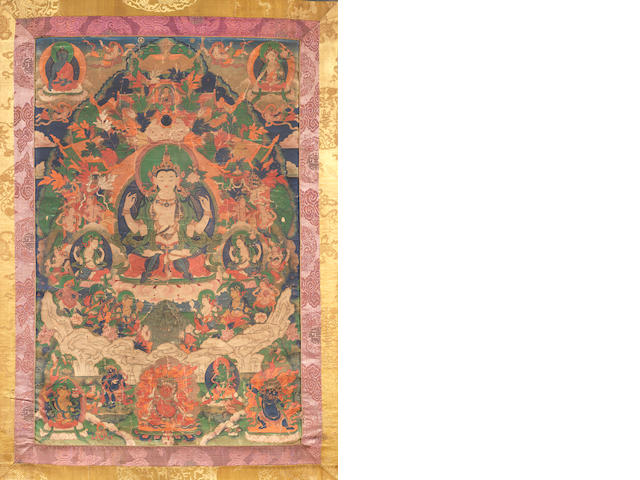 A Tibetan thangka depicting Shadakshari Lokeshvara  18th/19th century