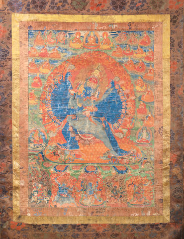 A Tibetan thangka depicting Yama 18th/19th century