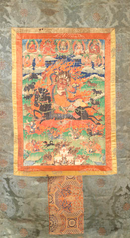 A Tibetan thangka depicting Mahakala 18th/19th century