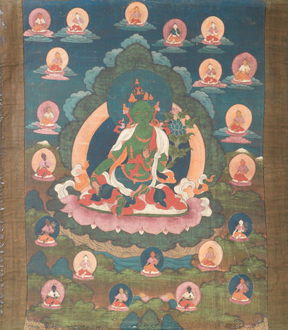 Three Tibetan thangkas  18th/19th century