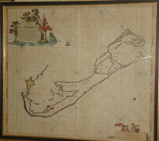 Keulen (Johannes van) Bermuda 'Pas Kaart van I. la Barmuda anders Sommer Islands' - a chart of the sea around Bermuda,