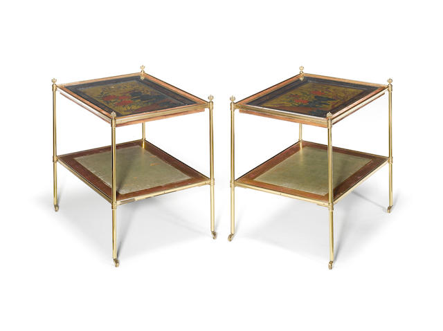 A pair of brass two tier etageres in the manner of Mallett