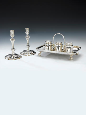 A pair of George II cast silver candlesticks, by James Gould, London 1731,  (2)