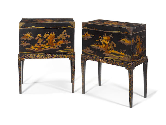 A pair of early 19th century Japanese export black lacquered chests on stands