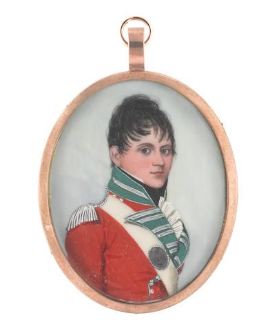 Frederick Buck (Irish, 1771-circa 1840) Captain Arthur Blake of the 24th Foot, wearing red coat with green facings, silver epaulette and lace, white cross-belt with silver belt-plate bearing 24, white frilled chemise and black stock