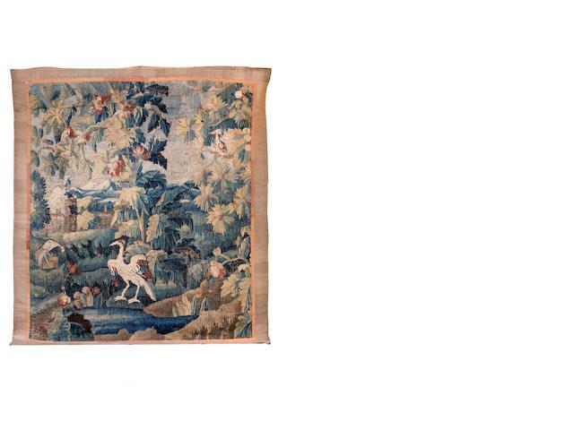 Aubusson tapestry 17th century, Echassier dans un parc