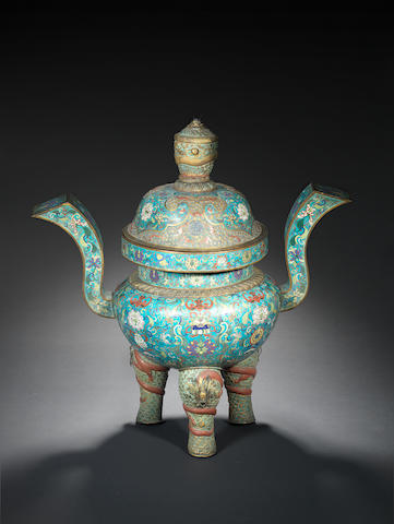 A rare and large cloisonné and champlevé enamel incense burner and cover Qianlong/Jiaqing